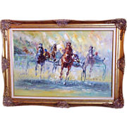 SALE Modern Horse Oil Painting Harness Racing Race Mid Century on Canvas Signed