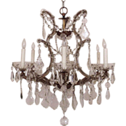 SALE Italian Chandelier Crystal Glass Maria Theresa 6 Light w/ Prisms Fixture Italy Bird Cage