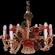 SALE Vintage Italian Tole Roses Chandelier Florentine Flowers Floral