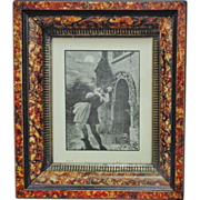 SALE Antique Wood Picture Frame 19c Victorian Eastlake Aesthetic Marbelized c. 1865-85 w/ Engr