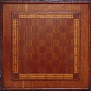 SALE Antique Game Board Folk Art Primitive 19c Hand-Made Carved & Inlaid Wood Cribbage &am