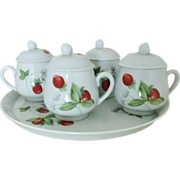 SALE 4 French Limoges Cups & Tray for Espresso Demitasse Chocolate w/ Strawberries ...