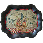 OLD folk art hand painted tole tray crow eating fruit in basket