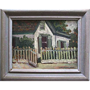 Charming old quaint cottage picked fence oil painting