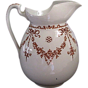 English Victorian Aesthetic period brown transferware water pitcher Garlands & Bows