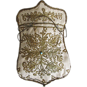 Beautiful old Ottoman gold paisley embroidered reticule