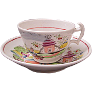 18th Century English chinoiserie tea cup saucer Indian Garden