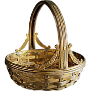 Antique French bronze dore woven basket fancy floral Ormolu mounts