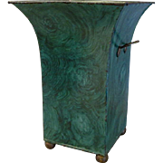 SOLD Old French malachite toleware cache pot tall and stately