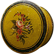 19th Century French papier mache patch box hand painted bouquet mustard yellow paint marbleize