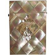19th Century mother of pearl Card case with facny calling card