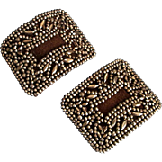 Fancy 19th C French Bronze beaded shoe clips