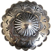 Old coin silver Navajo bump out brooch large