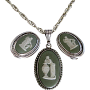 Wedgwood pendant and earring sterling set with box sea foam green