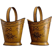 Charming pair French cache pots fine mustard tole ware pretty ribbons