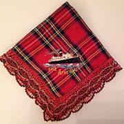 SOLD Vintage Silk Embroidered Souvenir English Handkerchief  R.M.S. Athenia