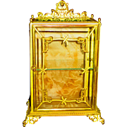 SALE Art Nouveau Bronze & Gilt Display Miniature Vitrine Case
