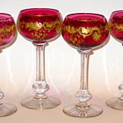 SALE Set of 4 Cranberry Moser or Baccarat, St. Louis Cranberry Gilt Goblets