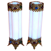 SALE PR. French Opaline Jeweled Vases w/Filigree Mounts