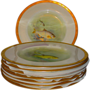 SALE Set/8 Royal Worcester for Tiffany & Co. HP Fish Aquatic Plates by C. Johnson