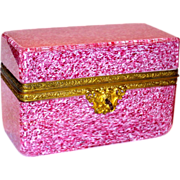 SALE Massive Cranberry Spatter Art Glass Casket or Dresser Box w/Ormolu Mounts
