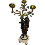 French Bronze & Marble Candelabra Winged Cherub & Roses Ca.1870