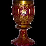 Large Ca. 1830-40 Bohemian Cranberry Pokal Goblet w/Gilt & Enamel