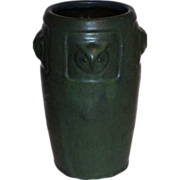 Great Green Matte Glaze Arts & Crafts Vase w/ Owls