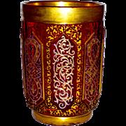 SALE Bohemian Cranberry Cut Glass Tumbler Gilt, Enamel, & Cut for Islamic Market