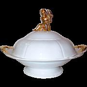 SALE Large KPM Meissen Covered Dish w/Cherub Full-Figured Finial