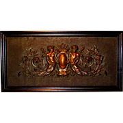 SOLD Ca. 1890 Architectural Relief Mythological Sea Creatures Wall Sculpture in Copper
