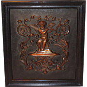 Cherub Angel Copper Relief Architectural Plaque in Wood Frame