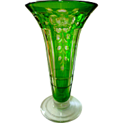 SOLD Large Green Cut-to-Clear Trumpet Art Glass Vase