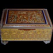 SALE Grand Tour French Bronze & Enamel Casket Box w/Scenic Lid