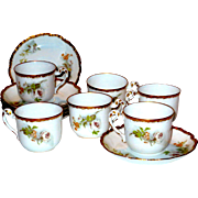 Set/12 pcs Limoges Cups & Saucers Gold w/White Peony? Rose?