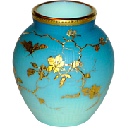 Fine Satin Glass Cameo Basket Weave Shaded Blue Vase w/Gilt Bug & Florals