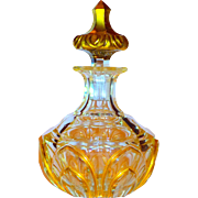 Fine French Bohemian Large Cut Glass Gilt Perfume Bottle