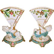 Pair of Porcelain English Fan Vases Hand Painted with Cherubs Ca. 1875