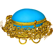 Palais Royale Blue Opaline Egg Casket in Ormolu Nest Grand Tour Gem