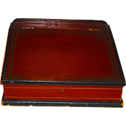 Ca. 1840 Early Painted Counter Box in Bittersweet w/Square Nails All Original