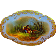 Large & Stunning Limoges Decorated Platter w/Colorful Birds