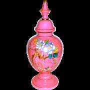 Large Cased Pink Opaline Enameled & Gilt Urn in Bristol Glass