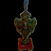 Large Covered Antique Urn w/Cherub Decoration on Marble Base