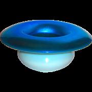Steuben Blue Aurene & Calcite Cuspidor Vase