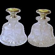 Pair Sterling, Guilloche Enamel, & Cut Glass Perfume Bottles w/Roses