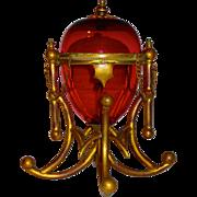 "Large 10.5"" Cranberry Glass Mechanical Egg Box w/Chains & Bronze Mounts"