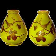 Pr. Harrach Imperial Yellow Enamel & Gilt Cased Vases w/Birds