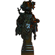Large & Fine Quality Bronze Boy Playing Pan Flute