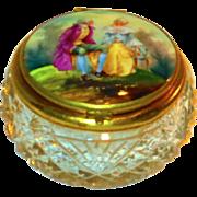 Fine Victorian Cut Glass & Porcelain Patch or Dresser Box
