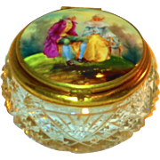 SALE Fine Victorian Cut Glass & Porcelain Patch or Dresser Box
